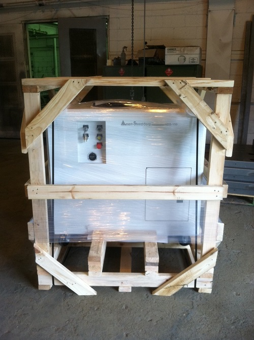 3 Hard Drive Shredder Crated  1