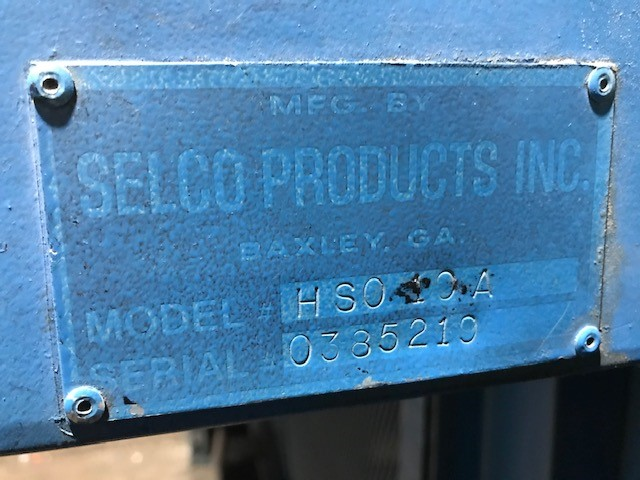 8644 Selco HSO10A AT name plate