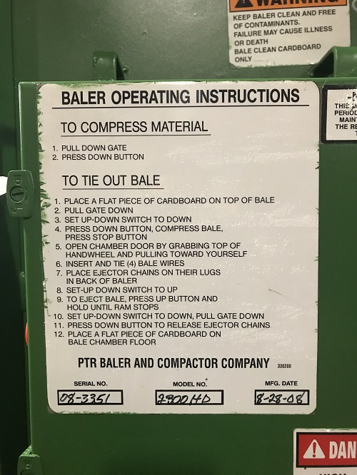 8280 2 PTR2300HD Vertical Downstroke Baler