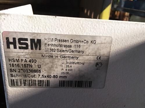 8493 - Used HSM FA-490 Cross Cut Paper Shredder