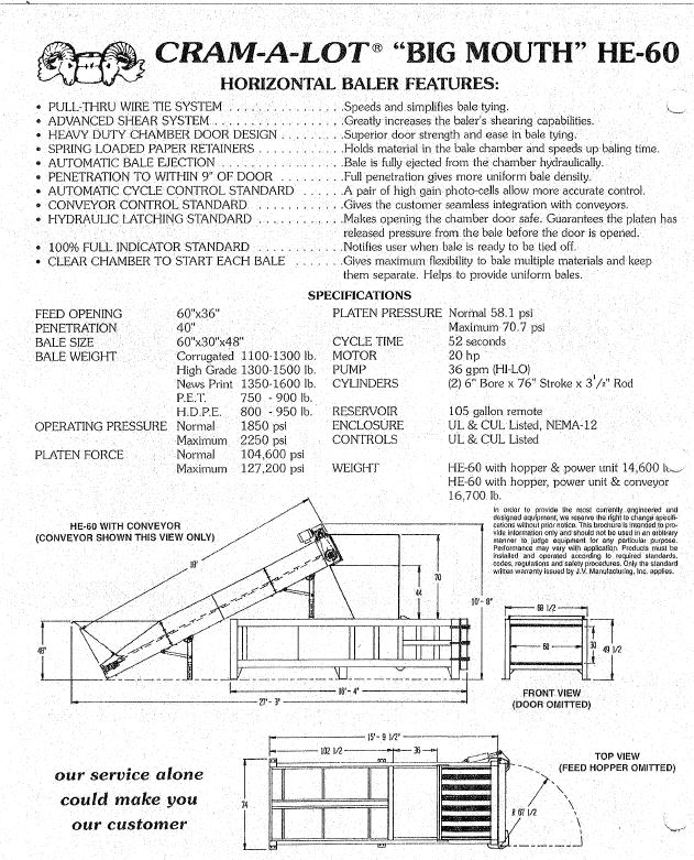 8747C SPECS Cram a Lot PU HE 60 Closed End Horizontal Baler