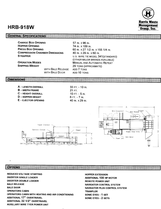 8358 - Harris Model HRB-918W Two Ram Baler For Sale Harris Waste Baler Wiring Diagram on