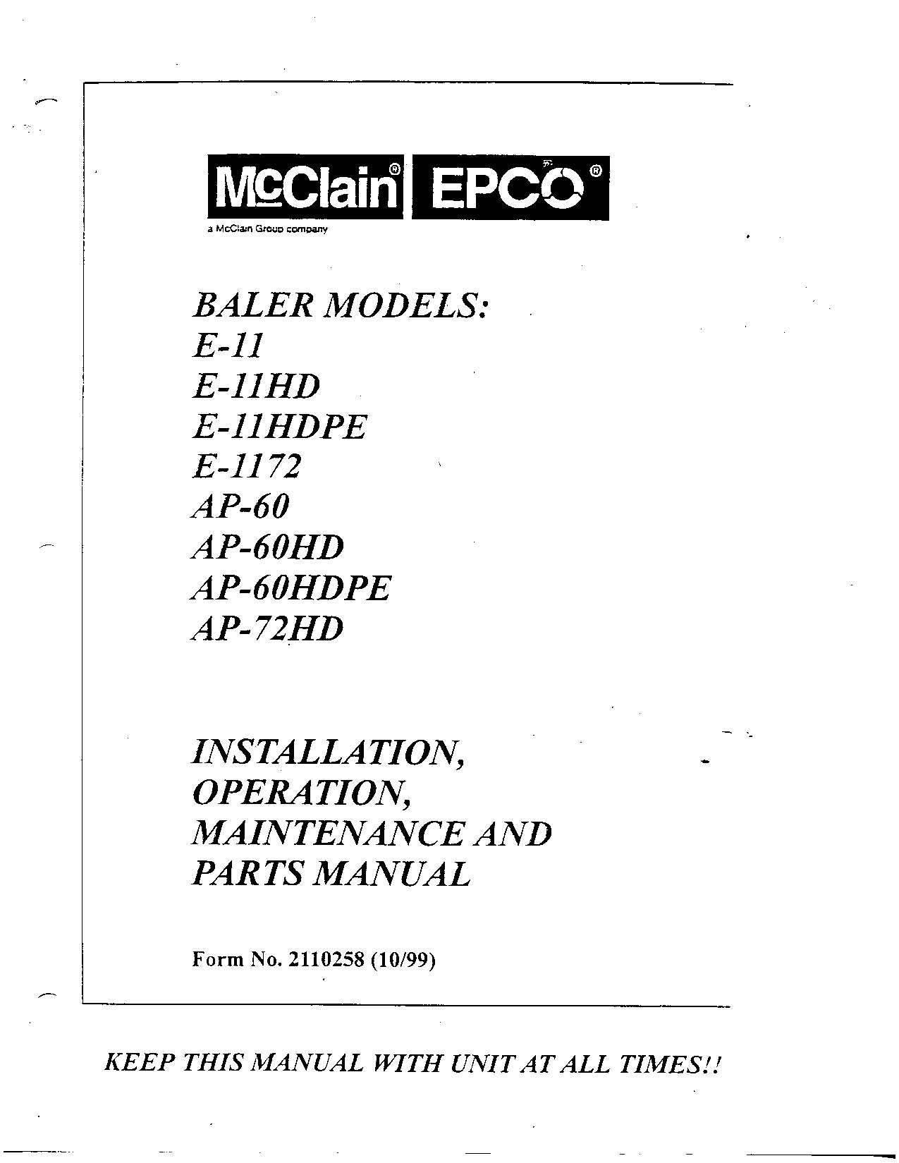 mcclain_epco_manual_page_1 baler and shredder operators manuals piqua baler wiring diagram at eliteediting.co